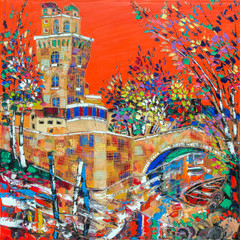 "Padua - ""La Specola"" - old observatory tower. The modern paint"