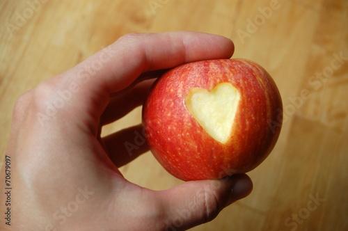canvas print picture Apfel mit Herz