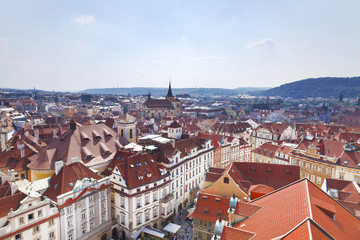 Prague roofs. Top view