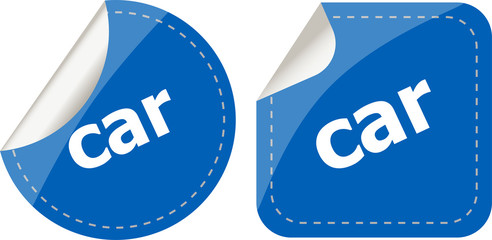 car word stickers set, web icon button