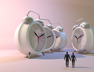 3d illustration of couple and alarm clocks, time passing concept