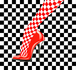 Icon women's shoe. High heels. Chess pattern. Abstract design