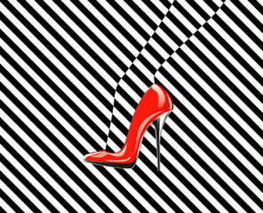 Icon women's shoe. High heels. Line pattern. Abstract design.