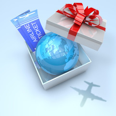 Gift box with planet earth inside and airplane tickets