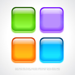 Square neon buttons