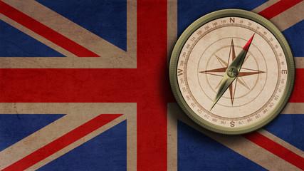 Bronce Kompass auf Britischer Flagge