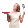 Beautiful housewife with spatula. Isolated on white background