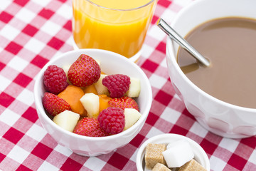 Breakfast with fruits and hot chocolate