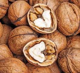 walnuts close up in detail