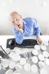 Overworked man at the office