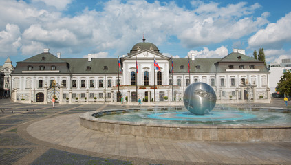 """Bratislava - The Presidents palace and fountain """"Youth"""""""