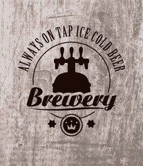 label to beer on wooden casks