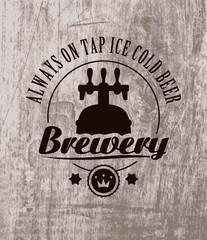 label to beer on wooden casks