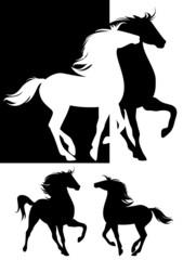 pair of horses silhouette design