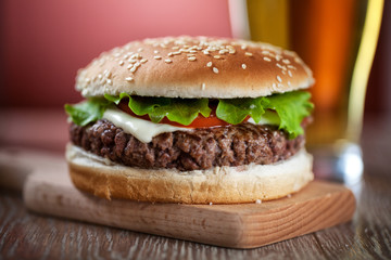 Fresh Hamburger With Beer