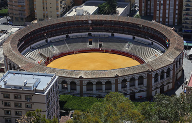 View of Malaga with the Plaza de Toros (bullring), Spain