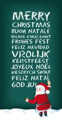Santa Claus schreibt frohe weihnachten in mehreren Sprachen
