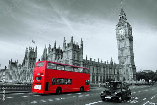Leinwanddruck Bild Bus in London
