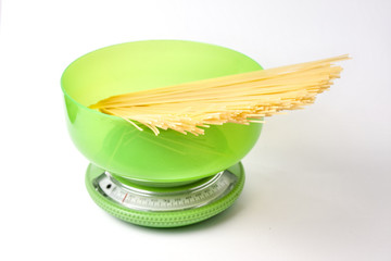 Spaghetti on a kitchen scale