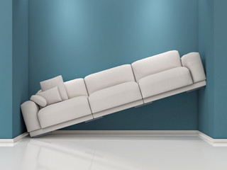 Lack of Space. Sofa Between blue walls