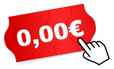 Preisschild Cursor 0 euro