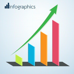 Growth Business Arrow of Success Infographics. Vector illustrati