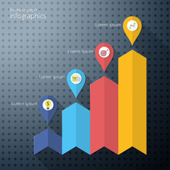 Growth Business Chart Infographics. Vector illustration.