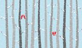 Fototapety Vector Birch or Aspen Trees with Snow and Love Birds
