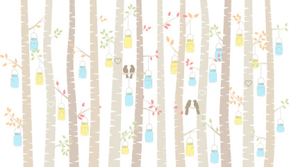 Vector Birch or Aspen Trees with Hanging Mason Jars and Love Bir