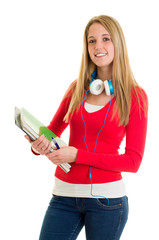 Hübsche Studentin mit Heften
