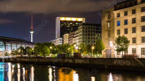 canvas print picture Berlin bei Nacht