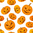 Seamless pattern with Jack-O-Lantern (Halloween pumpkins).