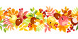 Horizontal seamless background with colorful autumn leaves.
