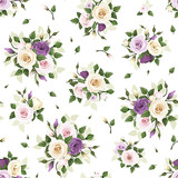 Fototapety Seamless pattern with roses and lisianthus flowers. Vector.
