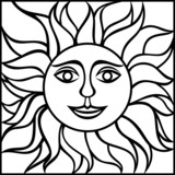 Black contour drawing of the sun with smiling face. Vector.