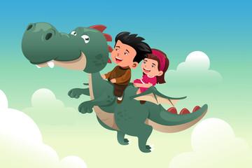 Kids riding on a cute dragon