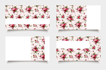 Pink business cards with rose patterns. Vector eps-10.