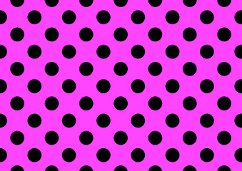 Pink background with black polka dots