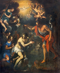 Padua - Baptism of Christ scene in church San Benedetto