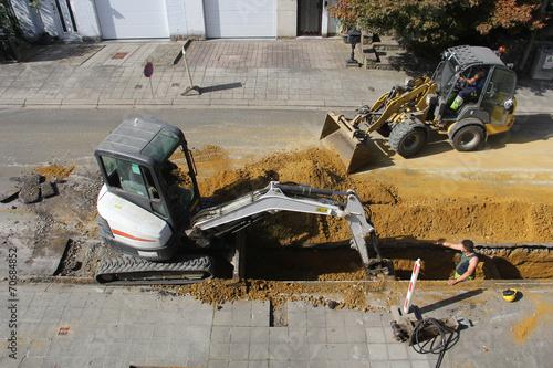 Leinwanddruck Bild chantier rue