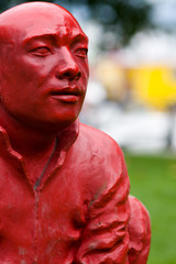 statue of squatting buddhist monks, Cardero Park, Vancouver, BC