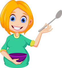 pregnant women cartoon presenting how to cooking