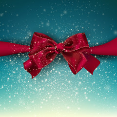 Gorgeous blue background  with red bow and copy space. Vector il