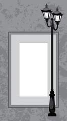 Street lantern on the gray abstract background with frame