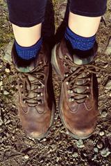 Female hiker wearing hiking boots, detail shot