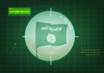 Flag of Islamic State or ISIS on target