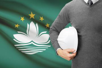 Architect with flag on background  - Macau