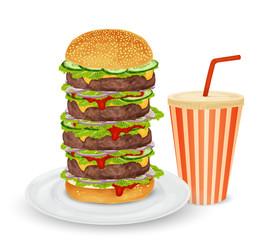Big hamburger and drink
