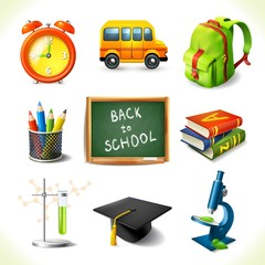 Realistic school education icons set