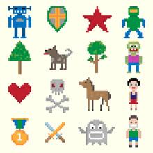 caractères de pixels du jeu